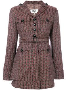 жаккардовый пиджак с поясом в стиле 70-х Mm6 Maison Margiela