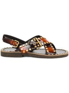 сандалии с заклепками Prada
