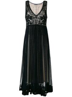 платье из тюля с вышивкой Cavalli Class