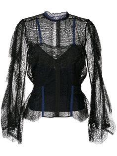 кружевная блузка с высоким воротом  Jonathan Simkhai