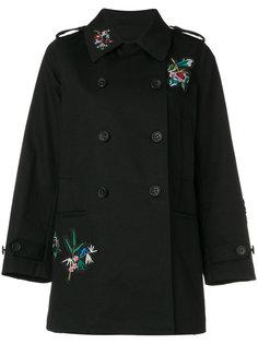 двубортное пальто с цветочной вышивкой Red Valentino
