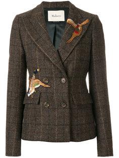 двубортный пиджак с заплатками с птицами Mulberry