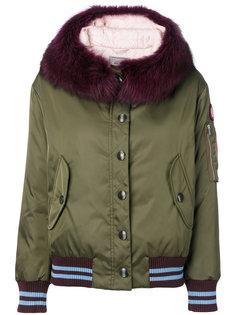 дутая куртка с капюшоном и меховой отделкой  Miu Miu