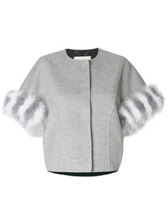 укороченный пиджак с меховой оторочкой Fendi