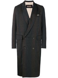 двубортное пальто в полоску Uma Wang