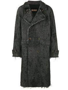 двубортное пальто с потертой отделкой Uma Wang