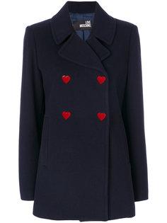 двубортное пальто на пуговицах Love Moschino