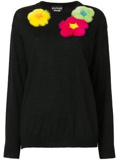 свитер с нашивками цветов Boutique Moschino