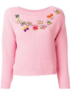 свитер с отделкой в виде бабочек  Boutique Moschino