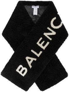 шарф с логотипом из овчины Balenciaga