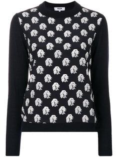 свитер с вышитыми собаками MSGM