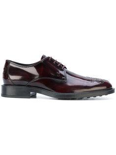 туфли со шнуровкой и вышивкой на носке Tods Tod`S