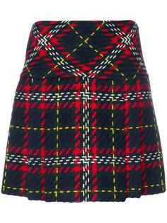 клетчатая твидовая юбка-мини Miu Miu