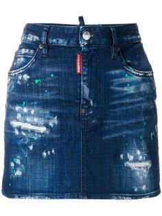 джинсовая юбка с брызгами краски Dsquared2