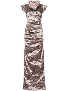 платье макси со сборками Nicole Miller