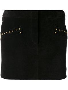 юбка с золотистыми заклепками  Saint Laurent
