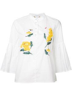 рубашка с расклешенными рукавами и вышивкой Muveil