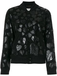 куртка-бомбер  с заплатками в форме сердца Saint Laurent
