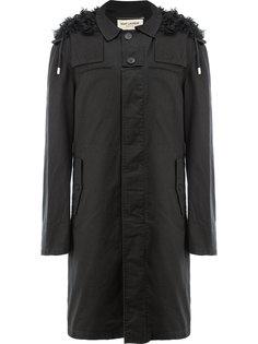 пальто с капюшоном с отделкой мехом Saint Laurent