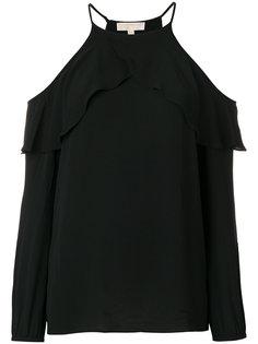 блузка с вырезами на плечах и оборками  Michael Michael Kors