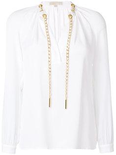 блузка с длинными рукавами и шнурком на вороте  Michael Michael Kors