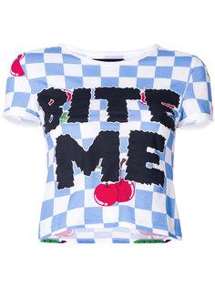 укороченная футболка в клетку с графическим принтом  House Of Holland