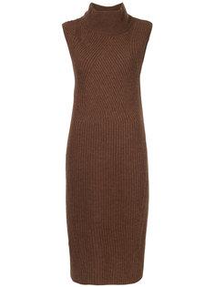 вязаное платье в рубчик с высоким воротом Anrealage