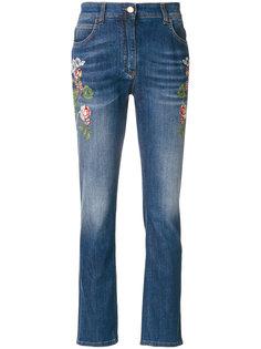джинсы с вышитыми цветами  Etro