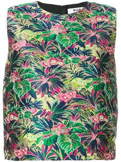 топ с растительно-цветочным вышитым узором MSGM