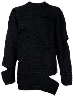 вязаный свитер с прорезями Maison Mihara Yasuhiro