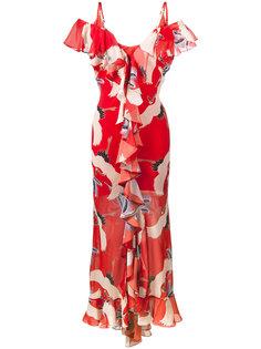 платье с принтом птиц и оборками  De La Vali