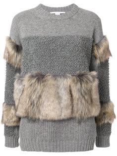 трикотажный свитер с меховой отделкой  Stella McCartney