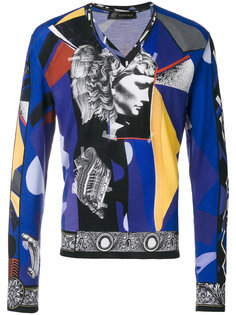 свитер с рисунком в стиле коллажа Versace