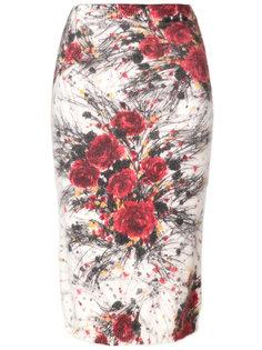 юбка-карандаш с цветочным узором Prada
