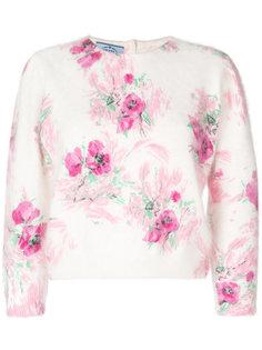 свитер с укороченными рукавами с цветочным принтом Prada