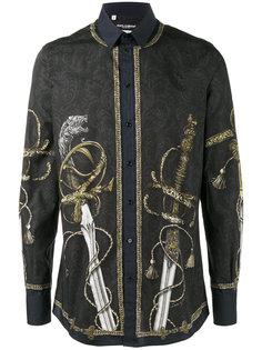 рубашка с принтом мечей в стиле барокко Dolce & Gabbana