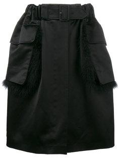 юбка по колено с меховой отделкой  Simone Rocha