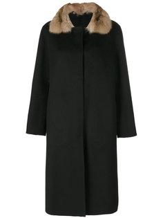 пальто с контрастным воротником  Liska
