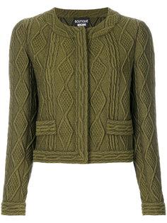 укороченный пиджак с узором косы Boutique Moschino