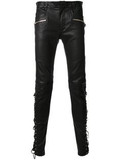 кожаные брюки со шнуровкой Balmain