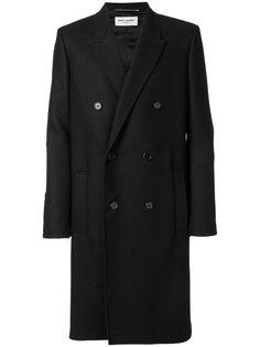 двубортное пальто с поясом Saint Laurent