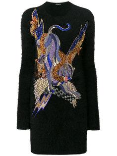 трикотажное платье с декорированной аппликацией пантеры Balmain