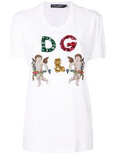 футболка DG с декором в виде купидонов Dolce & Gabbana