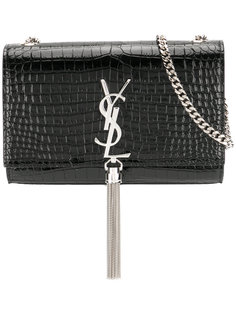 кошелек Kate на цепочке с кисточкой и эффектом крокодиловой кожи Saint Laurent