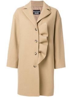 однобортное пальто с оборками Boutique Moschino