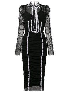 платье миди из тюля с оборкой  Dolce & Gabbana