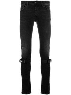 облегающие джинсы с ремешками на коленях Palm Angels