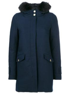пальто с оторочкой мехом на капюшоне Herno