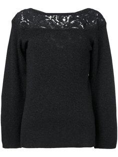свитер с гипюровой вставкой и вырезом лодочкой  Agnona