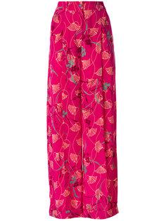 брюки-палаццо с цветочным принтом Valentino